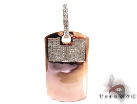 Rose Gold Princess Round Cut Invisible Prong Diamond Dog Tag Style