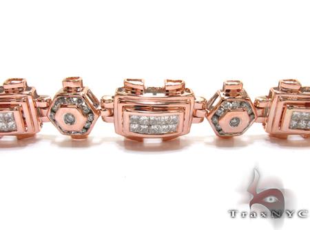 Rose Gold Round Princess Cut Channel Bezel Invisible Diamond Bracelet Diamond