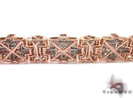 Rose Gold Round Princess Cut Channel Invisible Diamond Bracelet Diamond