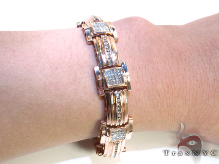 Rose Gold Round Princess Cut Channel Invisible Diamond Bracelet Diamond