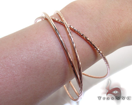 Rose Silver Twist Bangle Bracelet Silver & Stainless Steel