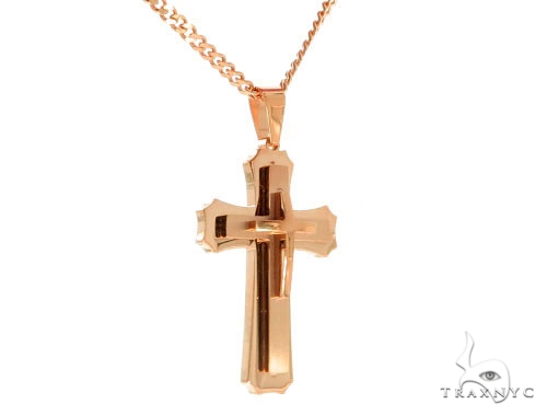 Rose Stainless Steel Cross Crucifix Set 45606 Stainless Steel