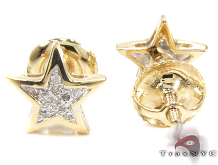 Round Cut Micro Pave Diamond Star Earrings Style