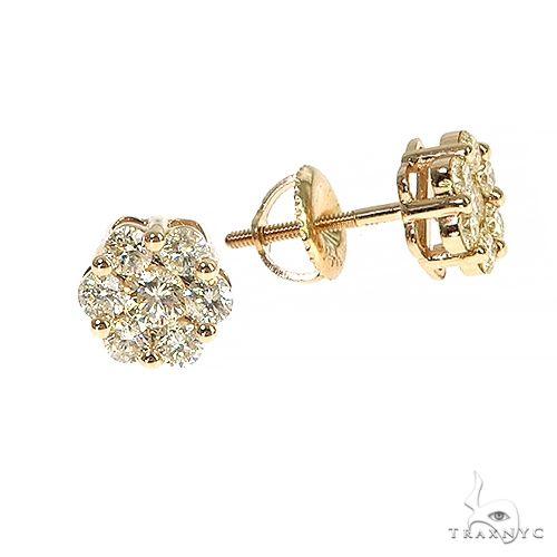 Round Cut Stud Flower Earrings Stone