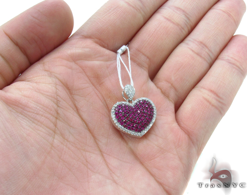 Pink Ruby & Diamond Heart Pendant 34031 Style