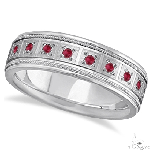 Ruby Ring for Men Wedding Band 18k White Gold Stone