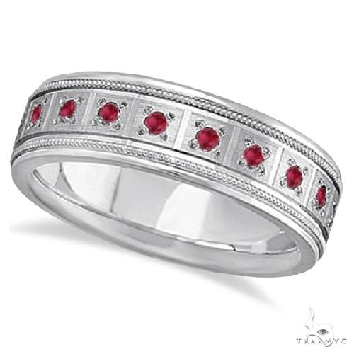 Ruby Ring for Men Wedding Band Palladium Stone