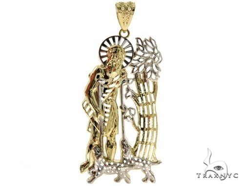 Saint Lazarus Pendant and 26 Inches Hollow Cuban Chain Set 61707 Style