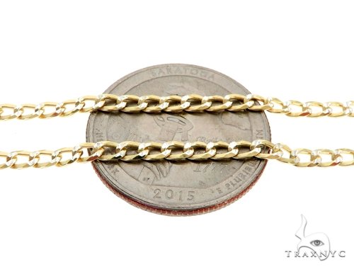 Silver Diamond Cut Cuban Curb Link Chain 30 Inches 3mm 8.00 Grams Silver