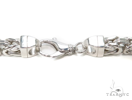 Silver  Byzantine Chain 28 Inches 10mm 128.3 Grams-40067 Silver