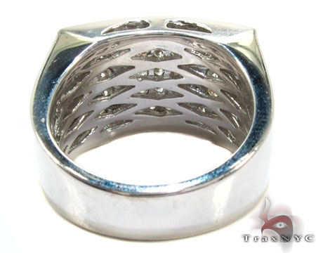 Silver 5 Row Prong Diamond Ring Metal