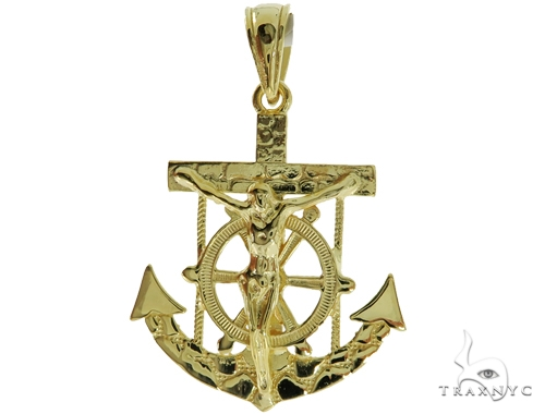 Silver Jesus Anchor Pendant 56989 Metal