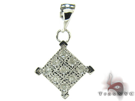 Silver Bezel Diamond Square Pendant Metal