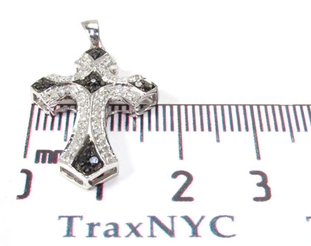 Silver Black and White Color Diamond Cross Crucifix 28842 Silver