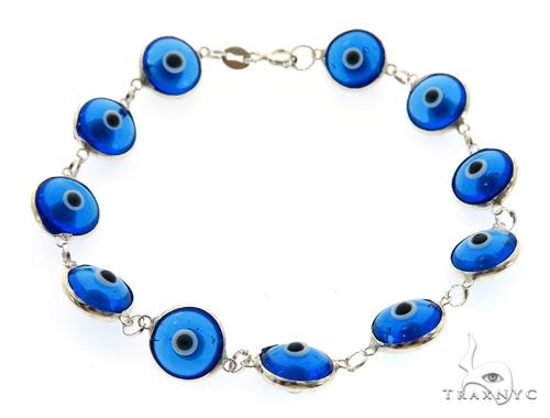 Silver CZ  Evil Eye Bracelet 43251 Silver & Stainless Steel