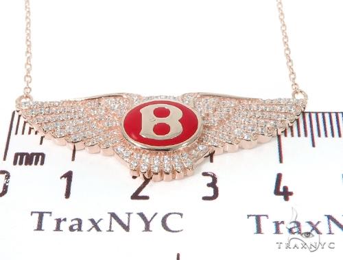 Silver CZ Bentley Logo Pendant Set 43226 Metal