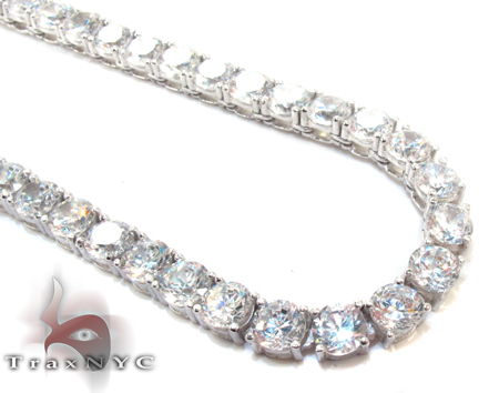 Silver CZ Chain 34 Inches 4mm 75.30 Grams Silver