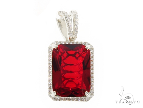 Silver CZ Hot Red Gemstone Pendant49041 Metal