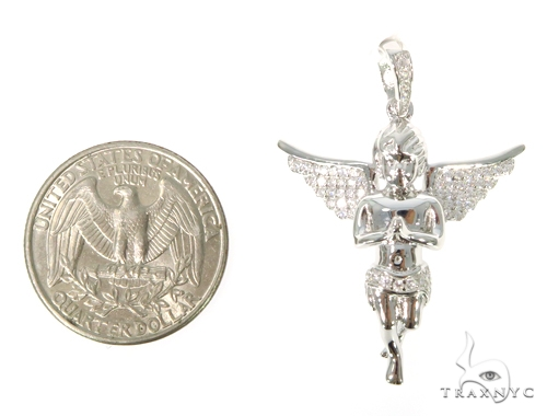 Silver CZ Mini Angel Pendant 49036 Metal