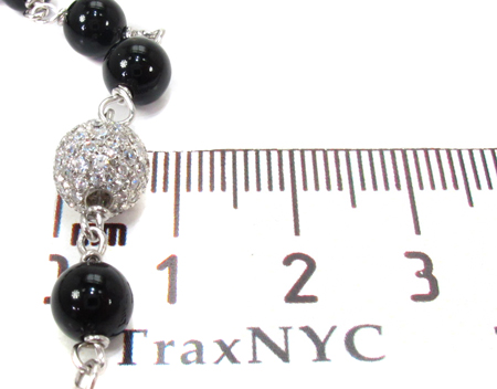 Silver CZ Rosary Chain 22 Inches, 8mm, 49.3 Grams Silver