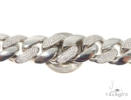 Silver CZ Solid Miami Cuban Link Bracelet 8.75 Inches 16.5mm 137.0 Grams 64082 Silver