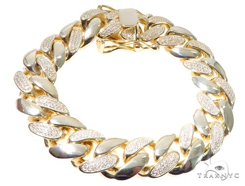 Silver CZ Solid Miami Cuban Link Bracelet 8.75 Inches 17mm 138.0 Grams 64084 Silver