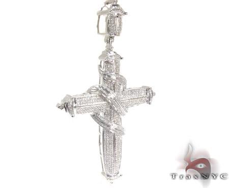 Silver Diamond Wrapped Cross Pendant 25562 Silver