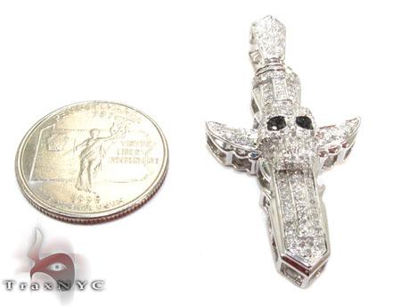 Silver Diamond Skull Cross Crucifix Pendant 25568 Silver