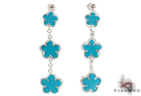 Silver Flower Chandelier Earrings 31429 Metal