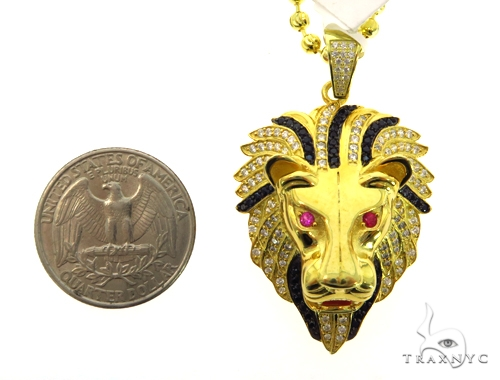 Silver Lion Head Pendant Set 48938 Metal