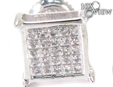 Single Silver Mini 3D Square Earring 27239 Metal