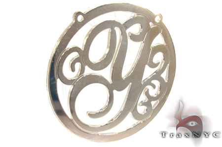 Silver Name Plate Monogram Pendant 31025 Metal