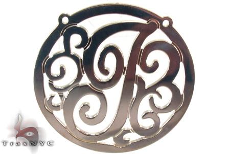 Silver Name Plate Monogram Pendant 31027 Metal