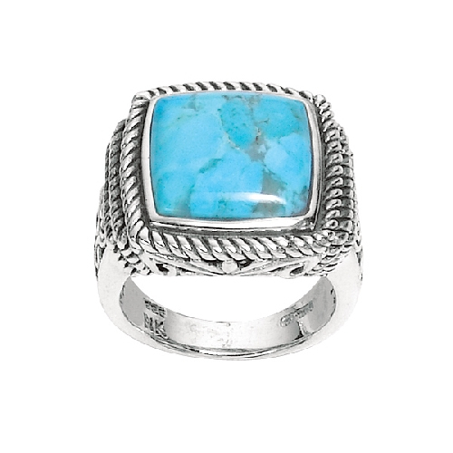 Silver Dome Square Top Reconstituted Turquoise Ridge Size 9 Ring Anniversary/Fashion