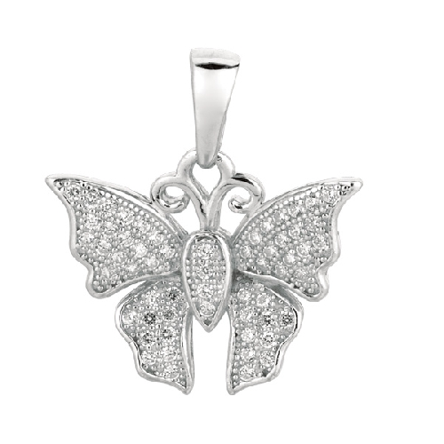 Silver Rhodium Finish Shiny Butterfly Sea Life Pendant Metal