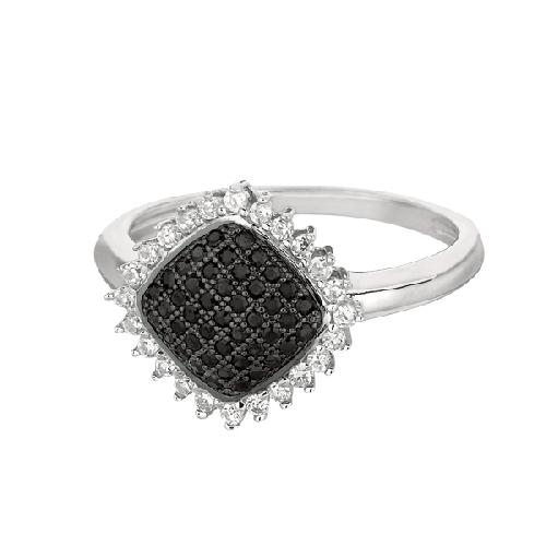 Silver Rhodium Finish Shiny Diamond Shape Top Size 8 Ring Anniversary/Fashion