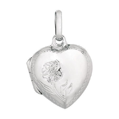 Silver Engraved Flower On Puffed Heart Locket Pendant Metal