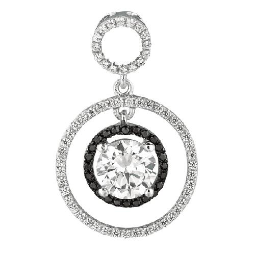 Silver Rhodium Finish Shiny Fancy 2-Circle Fancy Pendant Metal