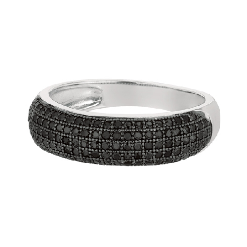 Silver Fancy Band Type Size 8 Ring with Black Cubic Zirconia Anniversary/Fashion