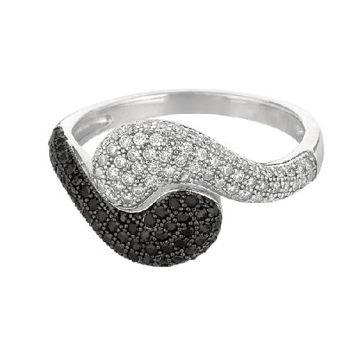 Silver Rhodium Finish Shiny Fancy By Pass Type Size 7 Ring Anniversary/Fashion
