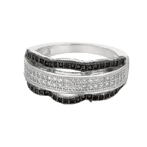 Silver Rhodium Finish Shiny Fancy Wavey Band Type Size 8 Ring Anniversary/Fashion