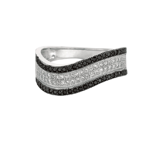 Silver Rhodium Finish Shiny Graduated Twisted Band Type Size 7 Ring Anniversary/Fashion