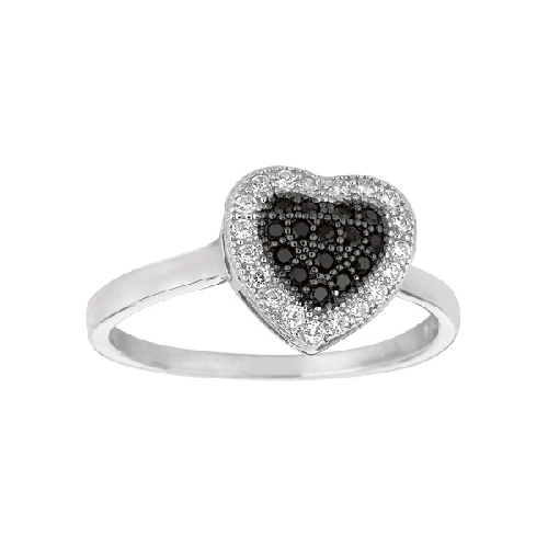 Silver Rhodium Finish Shiny Heart Shape Top Size 6 Ring Anniversary/Fashion