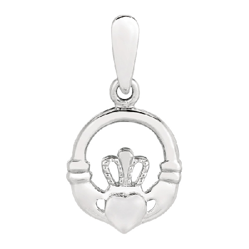 Silver Rhodium Finish Shiny Small Claddagh Charm Pendant Metal