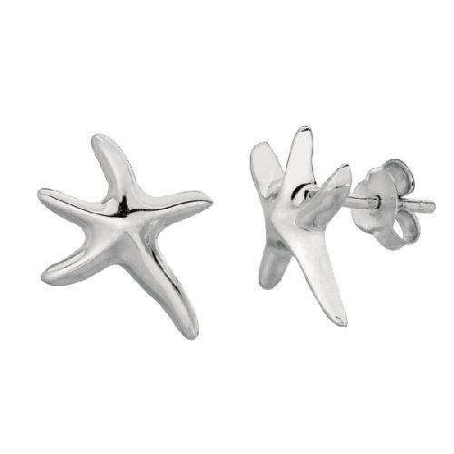 Silver Rhodium Finish Shiny Small Starfish Sea Life Post Earring Metal