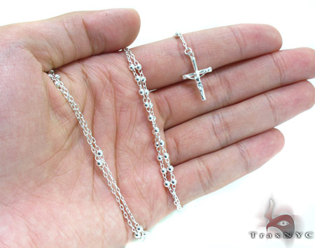 Silver Rosary Chain 16 Inches 3mm 8.3 Grams Silver