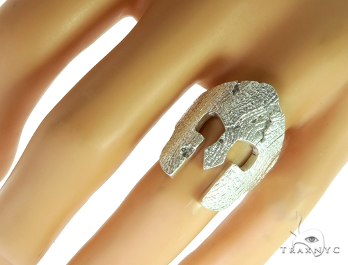 Silver Spartan Mask TraxNYC Prong Diamond Ring 57663 Stone