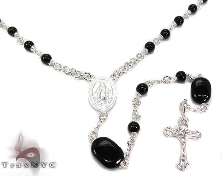 Silver and Onyx Rosary n 19 Grams Silver