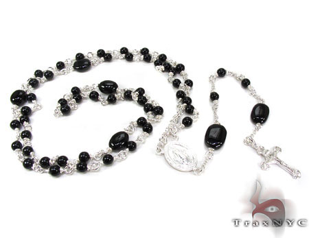 Silver and Onyx Rosary Chain 19 Grams Silver
