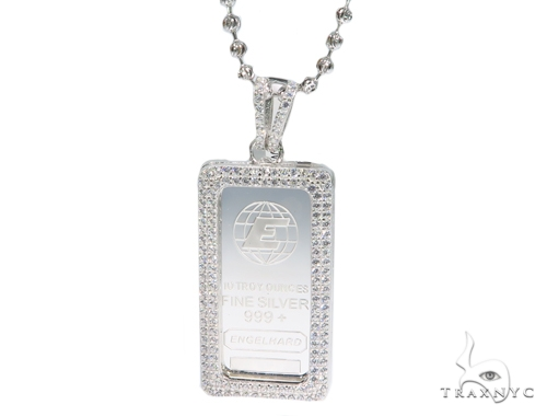 Silver Pendant with Moon Cut Chain 45024 Metal